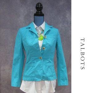 Talbots Petites Turquoise Blue Lightweight Blazer